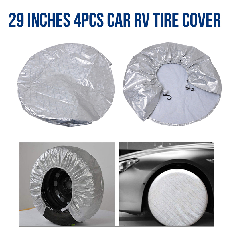 4pcs Tire Covers Protective Cover Universal for SUV/ Truck Auto Car Wheels Protection from Sun Rain Snow
