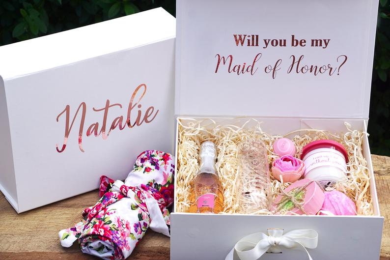 Personalized Name Bridesmaid Proposal Gift Box, Custom Flower Girl,  Will You Be My Bridesmaid Box, Maid Of Honor Proposal Box