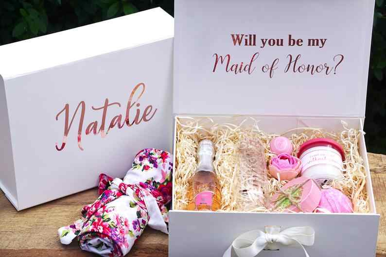 Personalized Name Bridesmaid Proposal Gift Box Custom Flower Girl Will You Be My Bridesmaid Box Maid Of Honor Proposal Box Aliexpress