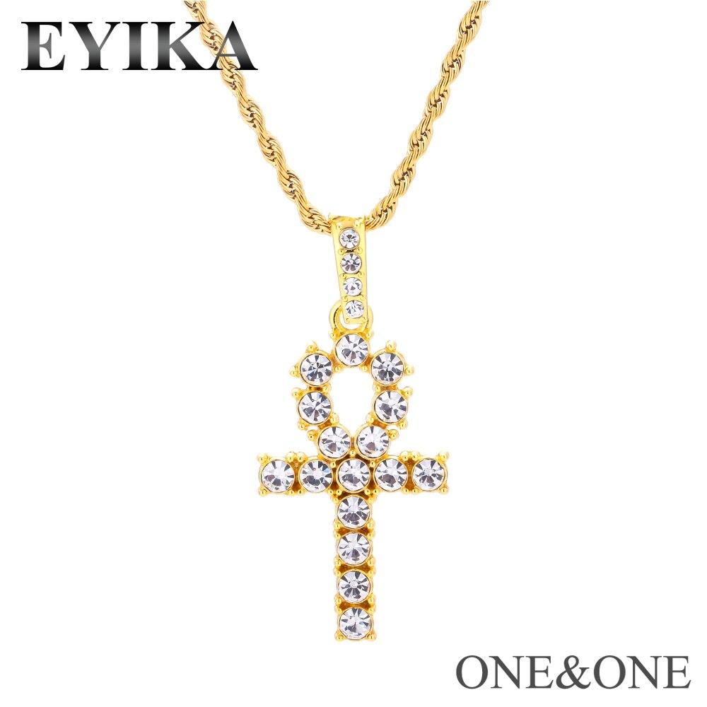 4mm Tennis chaîne collier et croix pendentif mode Hiphop bijoux en alliage strass couleur or hommes femmes croix hiphop bijoux