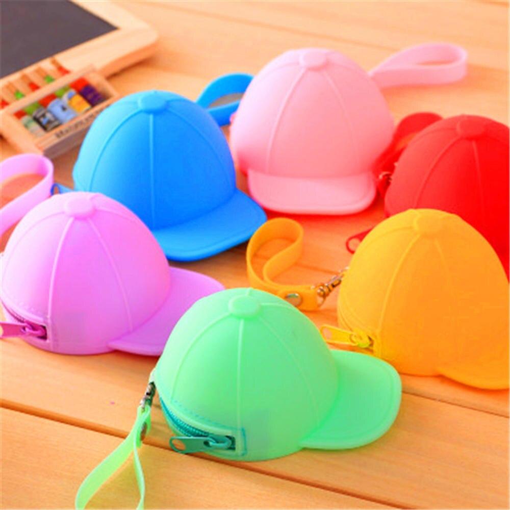2020 Hot Sale New Korean candy color baseball cap Shape Silicone coin bag mini cute hat key case  female Mini coin purse clutch