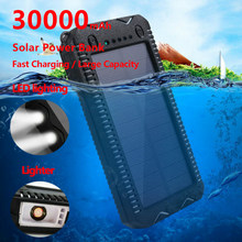 High Capacity 30000mAh Solar Power Bank with Cigarette Lighter Quick Charging Power Bank Outdoor Emergency Charger Double USB(China)