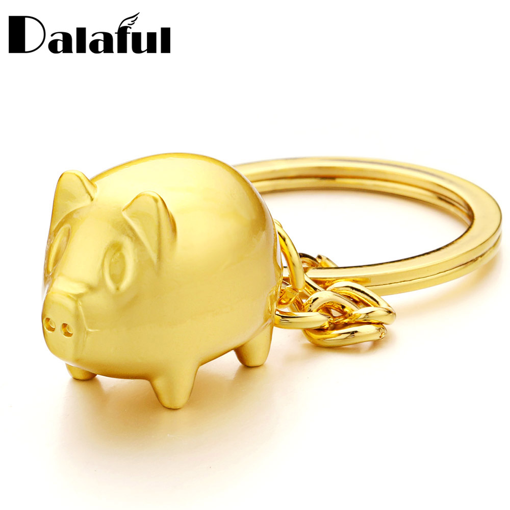 Dalaful Pig Keychains Metal Gold-color Key Ring Chain Anime Pendant Keyrings Gifts For Men Women For Car Luxury Keychain  K386