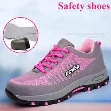 Botte de travail à bout en acier pour femmes, chaussures de sécurité à mailles, légères et respirantes, pour lextérieur, Anti écrasement, Anti perçage