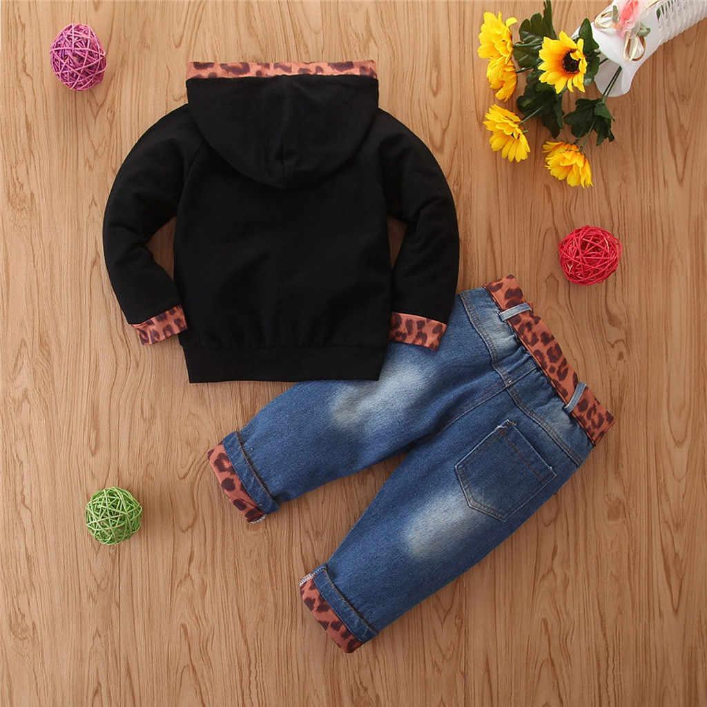 الاطفال الفتيات ملابس الشتاء طويلة الأكمام إلكتروني مقنعين البلوز قمم ممزق الجينز السراويل طفل فتاة ملابس كاجوال مجموعات