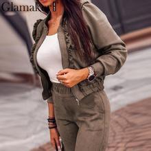 Glamaker sexy two piece set basic jacket Women autumn short