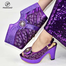 Purple Color Nigerian women Shoes and Bags To Match Set Decorated with Rhinestone African Wedding Party Shoes and Bag Sets cheap PADEGAO Mary Janes Square heel Super High (8cm-up) Fits true to size take your normal size Concise Faux Fur Summer Round Toe