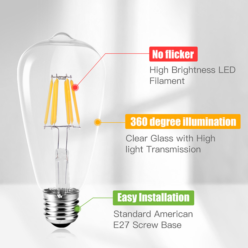 E27 Led Filament Bulb Bombillas Leds Lamp 220V Vintage Edison Bulbs 2W 4W 6W 8W Light Ampoule For Home Indoor Kitchen Lighting