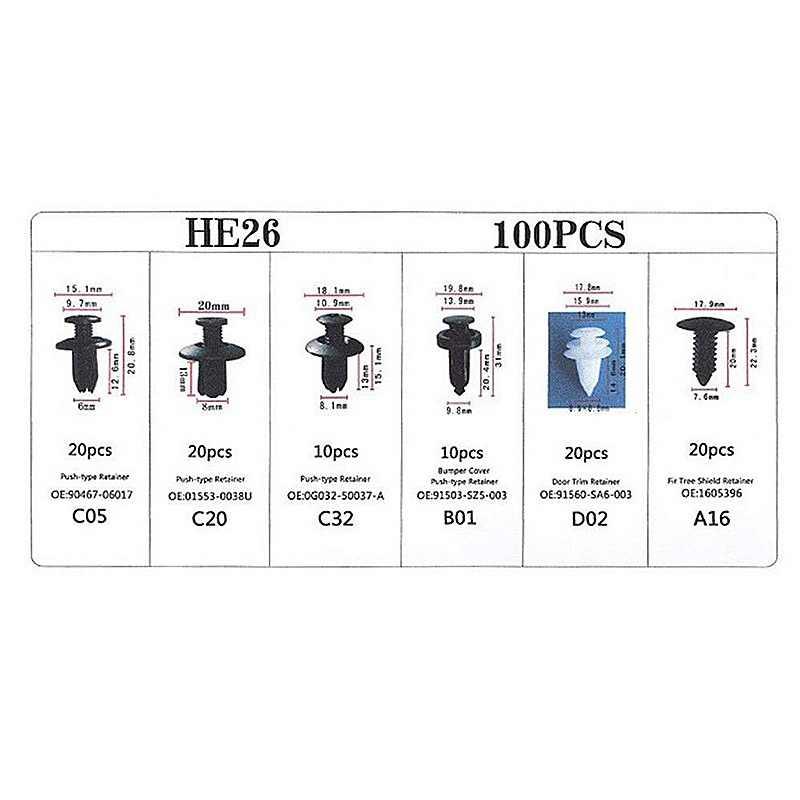 100 clips de retenci/ón de coche y kit de sujeciones de pl/ástico clip de ajuste de panel de puerta autom/ática con removedor de sujeci/ón,para decorar el cuerpo del coche,parachoques,defensas,cap/ó,etc.