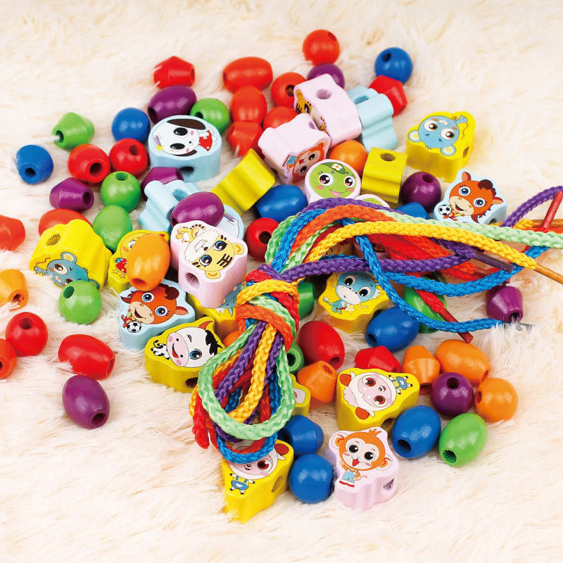 Girl'S Bead Toy DIY Fine Children Handmade Motion Training Early Education Non-1-6-Year-Old Educational Wearing Rope 10-30