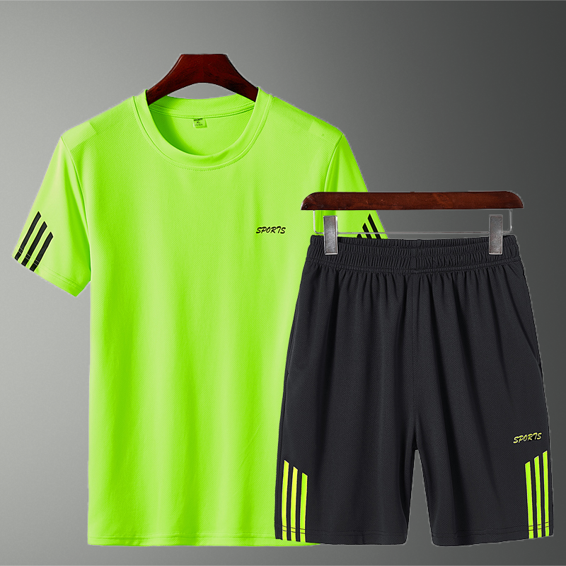 2020 Men Casual Set Striped Fashion T-shirt Shorts Sets 2 Pieces Male Sportswear Tracksuit Football Clothing