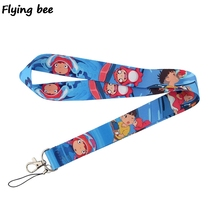 Flyingbee Anime ponyo Keychain Ponyo on the cliff Cartoon Cute Phone Lanyard Strap Neck Lanyards for ID Card Keys X0519