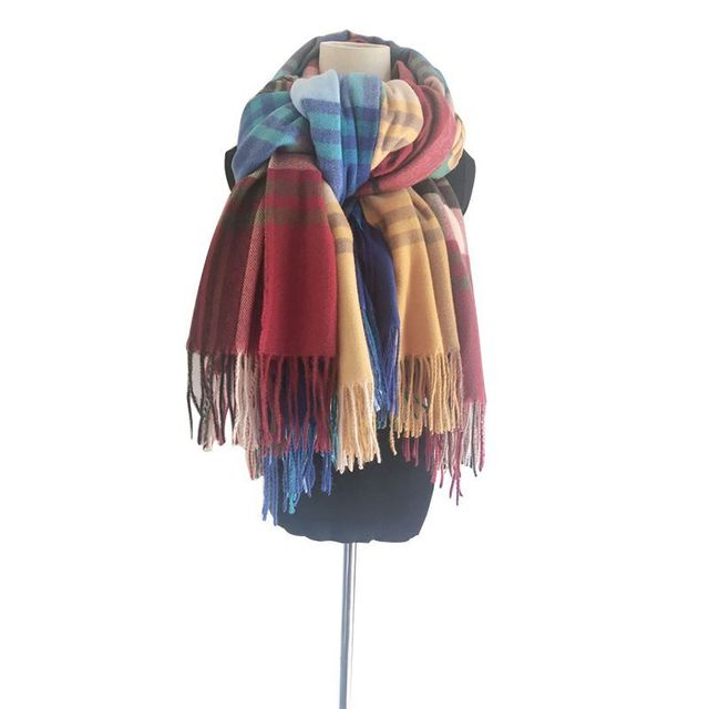 Direct sale Yellow Plaid Winter Scarf Shawl Women Wool Blends Poncho Wrap Female Tippet Stole Ladies Colorful Scarves Pashmina 6