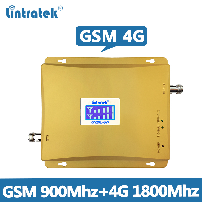 Lintratek GSM Repeater 4G Signal Booster 900 1800Mhz Dual Band Ampli 2G 4G 1800 LTE Band 3 Mobile Signal Amplifier 65dB KW20L-GD
