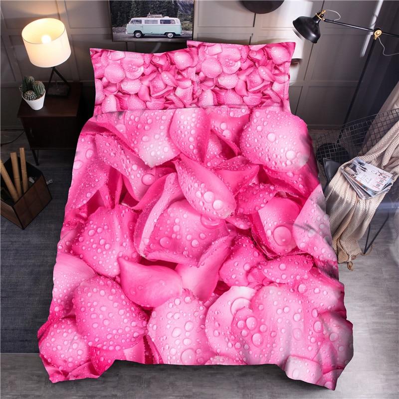Flower Printed Bedding Sets Petal Duvet Cover Sets Queen King Quilt Cover Bed Linen