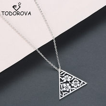Todorova Leaves Flower Triangle Pendant Necklaces for Women Stainless Steel Geometric Jewelry Art Deco Chain Necklace Gifts(China)