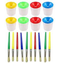 10 Pcs Paint Brushes with 8 Pieces Assorted No Spill Paint Cups for Kids and Adults Watercolor Acrylic Art Class