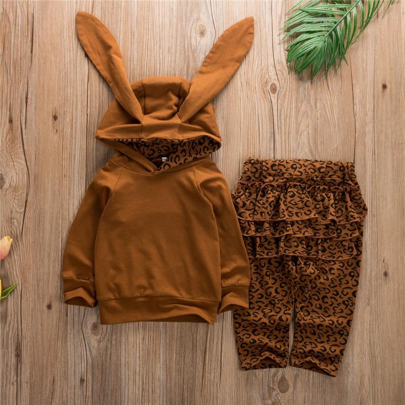 Sudaderas con capucha de Orejas de conejo en 3D para bebés y Bebés Ropa de niña con parte superior de café sólido pantalones de leopardo trajes ropa descuentos