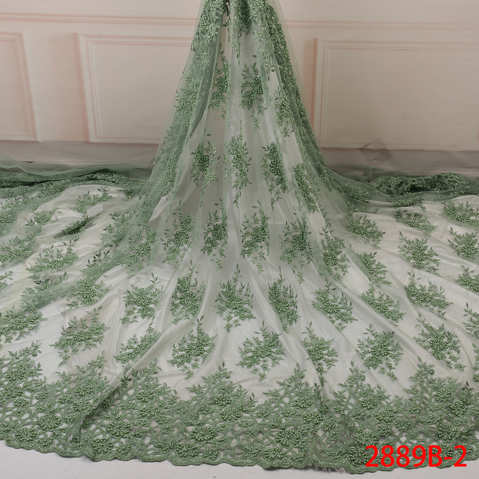 NIAI 2019 Embroidered Nigerian Lace Fabrics African Wedding Lace Fabric Bridal High Quality French Tulle Lace Fabric XY2889B-2