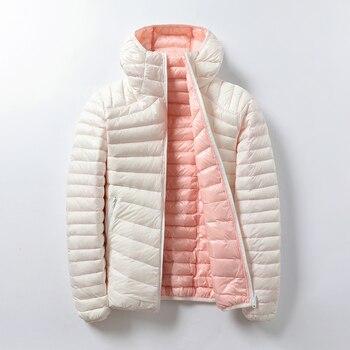 Doudounes simples à capuche pour femmes, vestes de marque avec plumes, manteau chaud et réversible Double face 1
