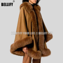 Top fashion Warm thickening ladies real cashmere poncho cape with Natural fur trim free shipping kid s100% cashmere cape with real fur trim length 30cm 6inch twisted fur with hood
