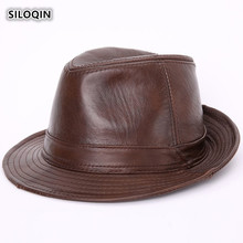 SILOQIN  Quality Genuine Leather Hat Winter Trend Man First Layer Cowhide Fedoras Hats Fashion Woman Brand Sombreros Casquette