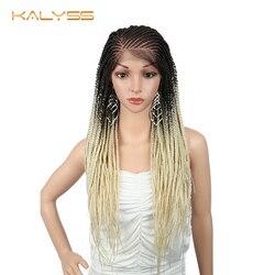 Kalyss 28 дюймов 13x6 плетеные парики для чернокожих Для женщин синтетический Синтетические волосы на кружеве парик 613 парик коса длинные Синтети...