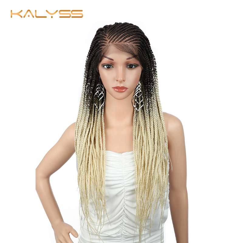 Kalyss 28 Inches 13x6 Braided Wigs For Black Women Synthetic Lace Front Wig 613 Blonde Wig Braid Long Lace Front Wig Faux Locs