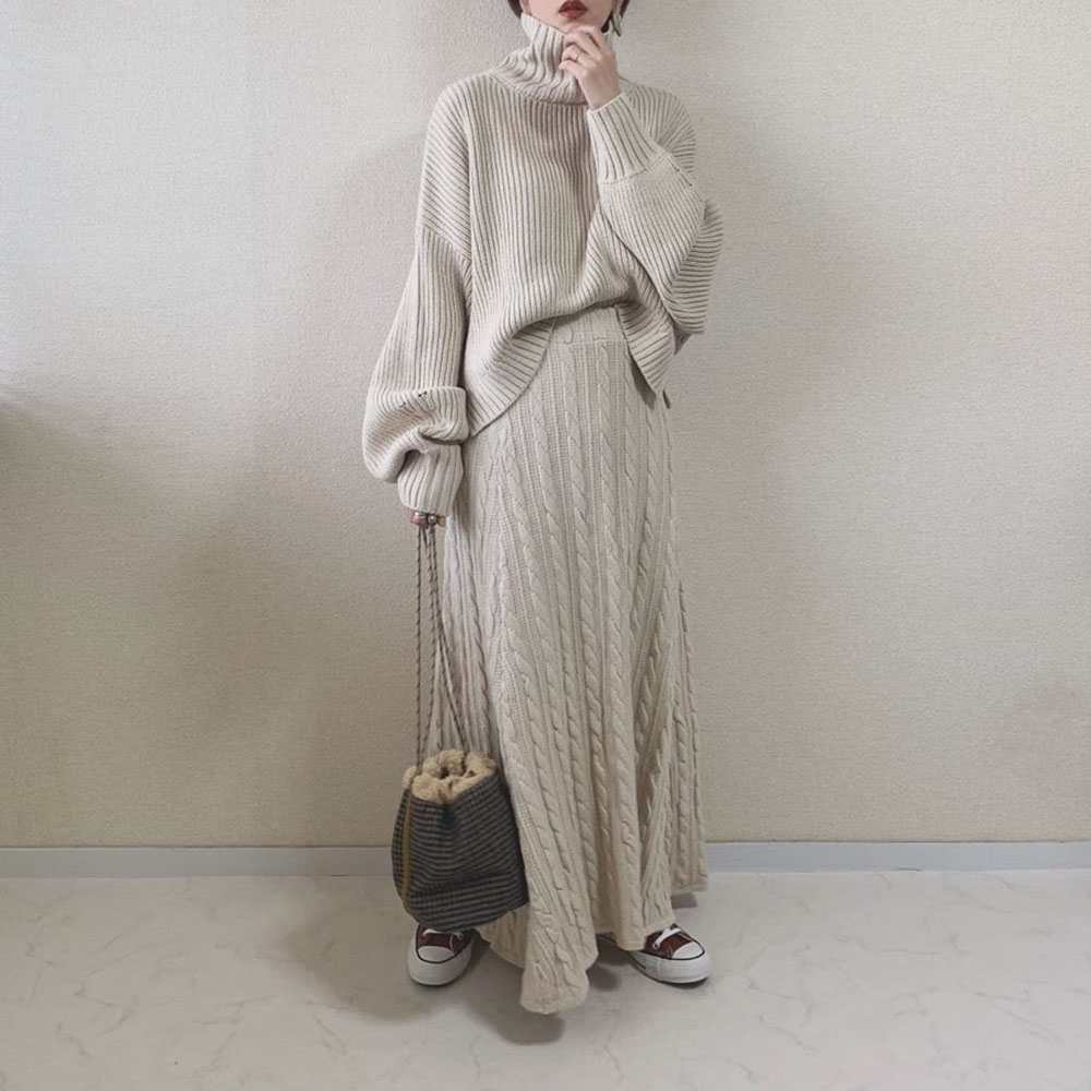 Elegant Two Piece Sets Autumn Turtleneck Knitted Sweater And Long Dress Korean Sweet Office Winter Warm Women Sets Causal Suit