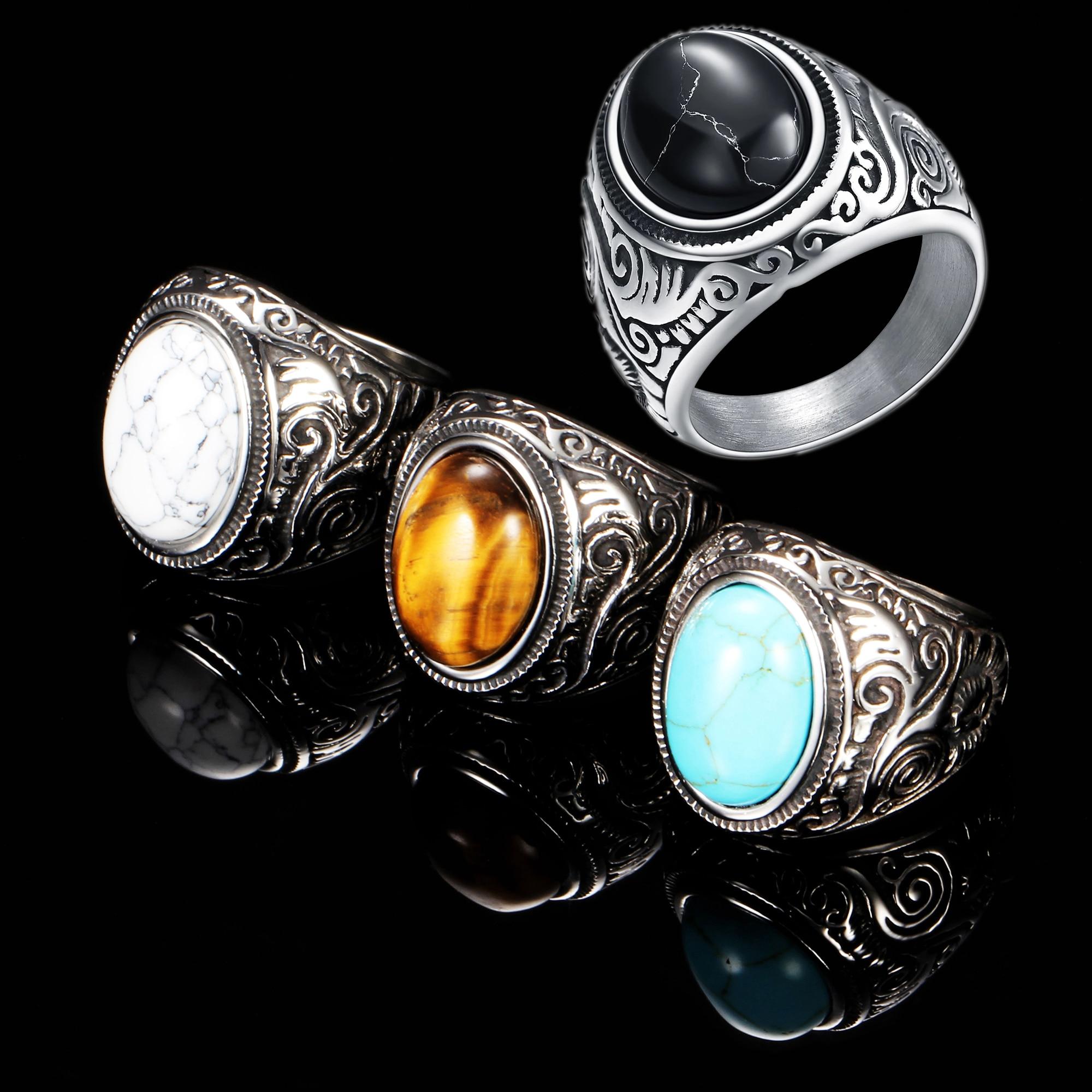 Anillo de ópalo con piedras Unisex, joyería Retro con incrustaciones de acero y titanio, en cuatro colores