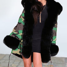 Oversize Camouflage Faux Fur Coat Winter Thick Warm Long Coat Fashion Casual Military Chunky Jacket Parka Hooded Women Overcoat(China)