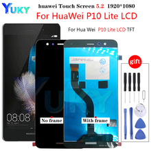 Originele 5.2 Display Met Frame Voor Huawei P10 Lite Lcd Touch Screen Digitizer Vergadering WAS LX1 WAS LX1A WAS LX2 WAS LX3 Lcd