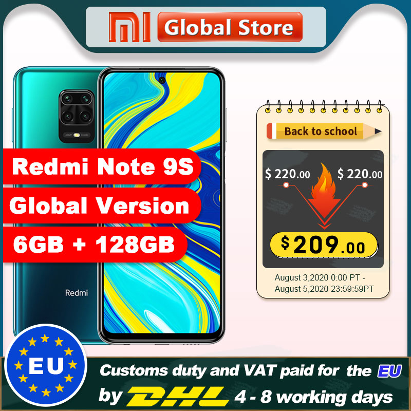 Global Version Xiaomi Redmi Note 9S 128GB 6GB Smartphone Snapdragon 720G Octa core 5020 mAh 48MP Quad Camera Note 9 S(China)
