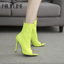 цены Ankle Boots Plus Size 42 Solid Pointed Sleeve Women's Boots Peep Toe Elastic Fabric Stiletto High Heels Fluorescent Shoes Women