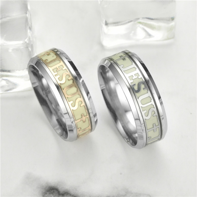 Stainless Steel Cross Ring Jesus Christ Ring for lovers Fashion Jewelry Glow In the Dark Engagement Ring for Men Women