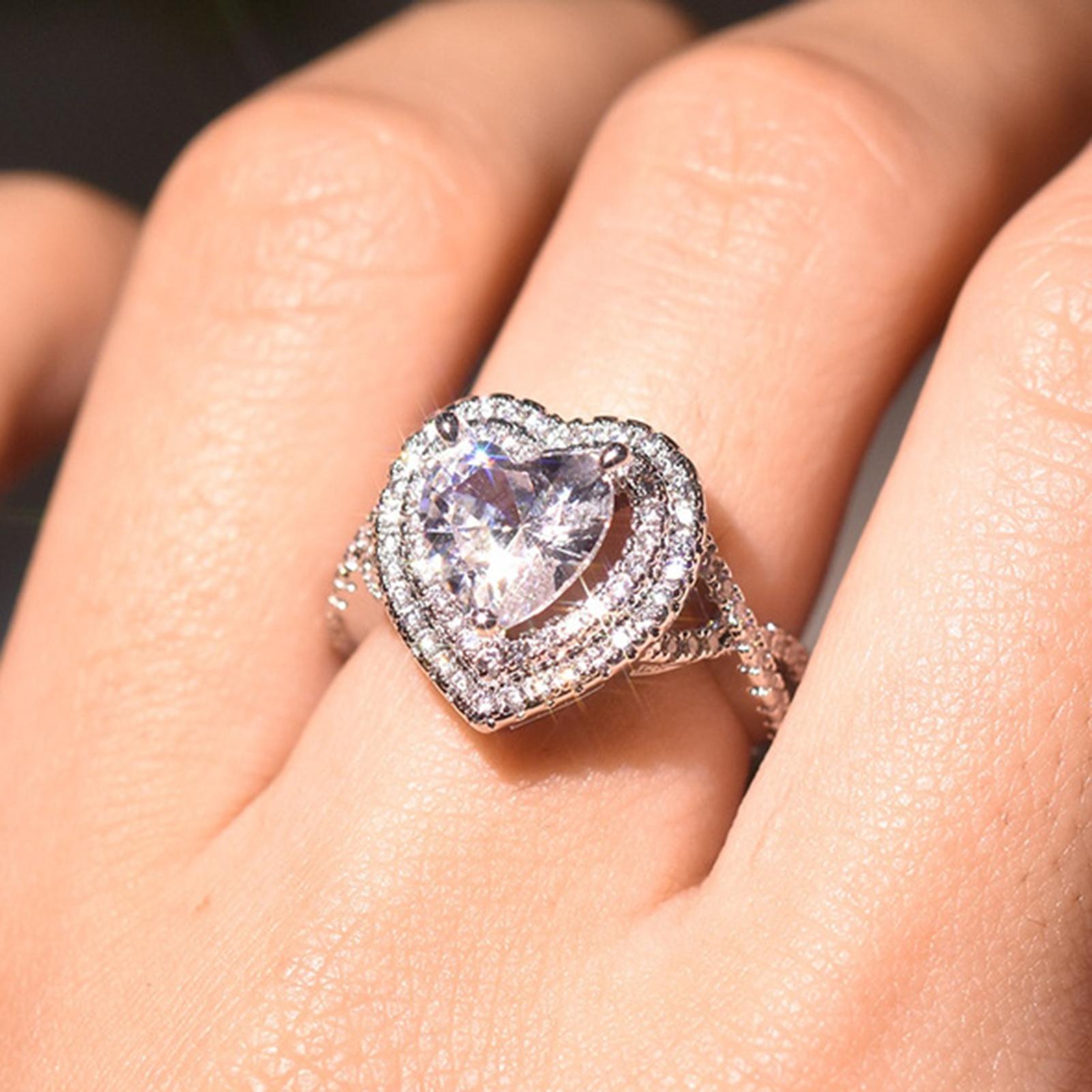 HEIßE VERKÄUFE!!! Neue Ankunft Frauen Herz Geformt Strass Ring Mode Legierung Reif Shiny Schmuck Geschenk