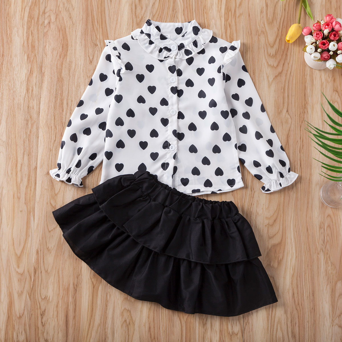 Pudcoco Toddler Baby Girl Clothes Love Peach Heart Print Shirt Tops Solid Color Ruffle Mini Skirt 2Pcs Outfits Clothes