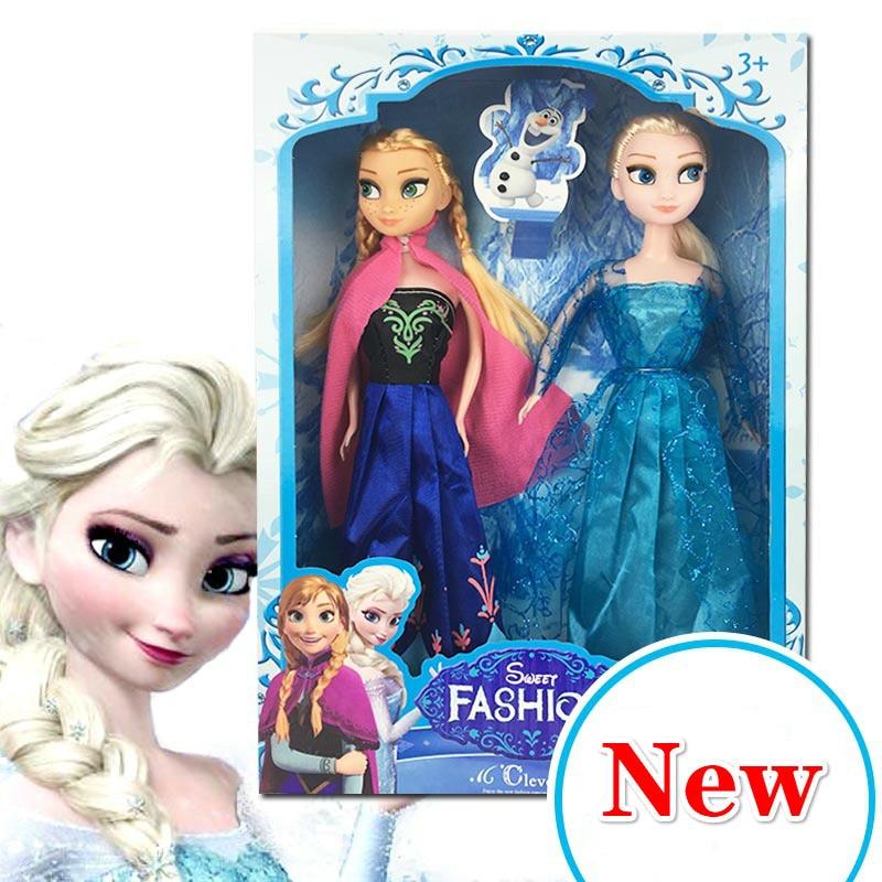 2PCS 30cm No Box High Quality Anna and Elsa Boneca Elsa Doll Fever 2 Princess Clothes for Dolls Figure Girls Toys Children