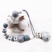 Pacifier-Clips Anti-Drop-Chains Personalised Baby Silicone Beads Wooden Name Rabbit