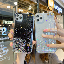 Glitter Star Wrist Strap Case For iPhone 11 Pro Max XS XR X 7 8 Plus 6 6S Case Soft Epoxy Back Cover Coque For iPhone 11pro max glitter powder holder phone case for iphone 11 x xr xs max 6 6s 7 8 plus transparent soft tpu wrist strap shockproof back cover