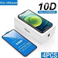 1-4Pcs 10D Display-schutzfolien für IPhone 12 11 Pro XS Max X XR SE Gehärtetem Glas Film für IPhone 6 6S 7 8 Plus Schutz Glas