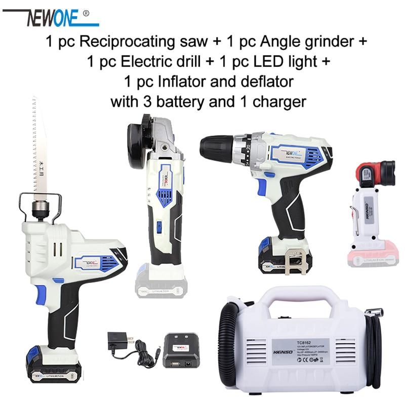 Tools : 12V Cordless Electric Power Tool Combo Kit Drill Screw driver angle grinder reciprocating saw LED flashlight inflator deflator