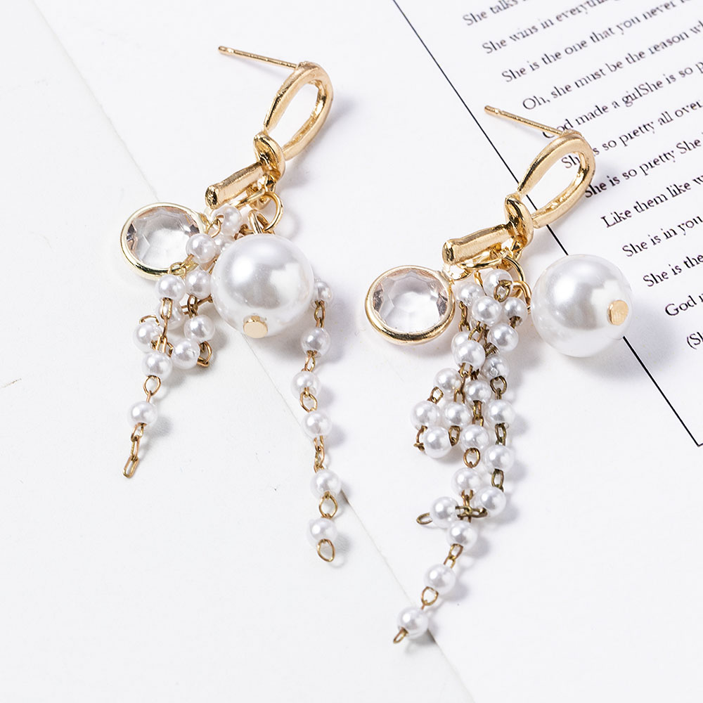 Bohemia Tassel Simulated-pearl String Drop Dangle Earrings Long Korean Crystal Golden Metal Female Fashion Statement Earrings