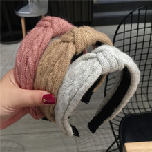 Fashion Winter Headbands For Women Vintage Bohemian Colored Woolen Knot Headband Knotted Hairband Hair Accessories