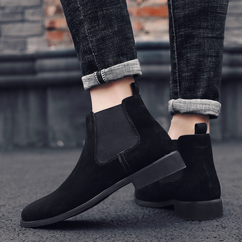 England fashion men's black chelsea boots breathable genuine leather shoes slip on shoe short ankle boot chaussure homme botas
