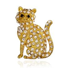 Vintage Gold-plated Rhinestone Enamel Gold Cat Alloy Brooch Women Party Metal Crystal Animal Clothing Jewelry Accessory