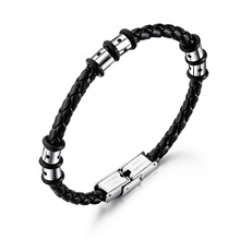 Fashion simple multilayer men braided stainless steel leather bracelet bracelets tide male personality trendy mens bracelets white braided leather rope bracelet jewelry stainless steel magnetic clasp fashion male wristband sp0006