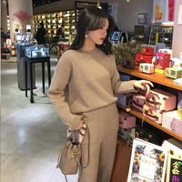 2 Piece Set Women Sweater Two Piece Knitted Set Slim Tracksuit Autumn Winter Fashion Sweater Pullover Sporting Pants Suit Female
