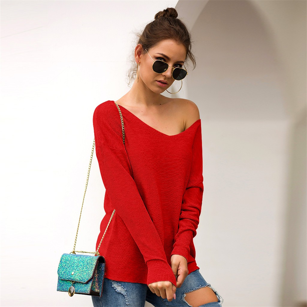 Autumn V Neck Sweater Knitted Fashion Womens Sweaters 2020 Winter Tops For Women Pullover Jumper Pull Femme Truien Dames#J30