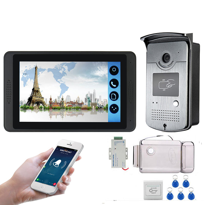 7inch Wired Wifi Video Intercom Entry System 1 Monitor + 1 RFID Access IR Camera + Electric Control Door Lock
